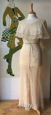 Superbe Vintage Années 1930 Full Length Tea Robe De Mariée Taille 8 Excellent État