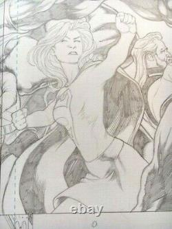 Supergirl Double Page Spread! Kevin Maguire! Excellent État Art Original