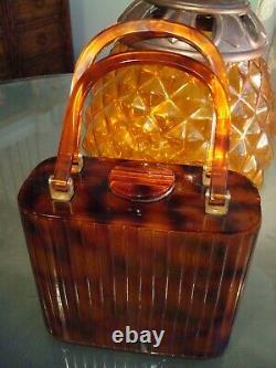 Tortoise Shell Box Handbag Par Bavelli Excellente Condition Vintage