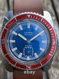 Verni Vintage Français Mini Diver Blue Sunburst Dial- Excellent État D'origine