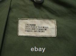 Vietnam War U.s. Army M1965 Field Jacket Long Med 1967 Excellent État M65