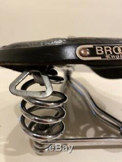 Vintage 1950 Brooks Originale En Cuir B73 Selle De Vélo Noir Excellent État
