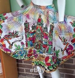 Vintage 1950 Peint À La Main Aztèque Mexicaine Full Circle Skirt Excellent Etat