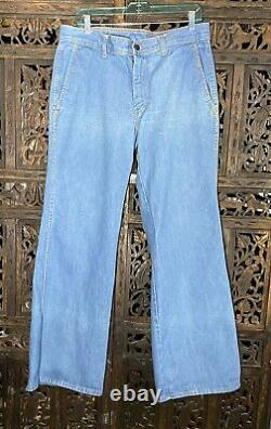 Vintage 70s Hommes Denim Bell Bottom Jeans 34 X 32 Excellent État Pennys