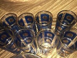 Vintage Barware Set Blue, Gold Retro 60's, Movie, Video Set Excellent Condition