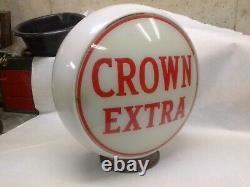 Vintage Original Pompe À Gaz Globe Crown Extra Excellent État Avec Base En Laiton