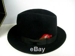 Vintage Stetson Feutre Noir Chapeau Fedora Homme Taille 7 1/4 Excellent État