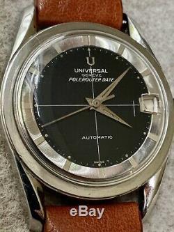 Vintage Universal Geneve Polerouter Cadran Noir Excellent État D'origine