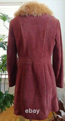 Vtg Retro1970's Suede Leather Med Sheepskin Femmes Coat Mod Condition Excellente